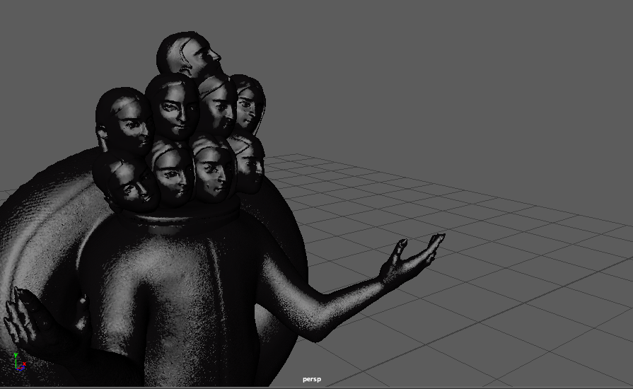 Charcoal colored 3D rendering of a 10-headed statue figure.
