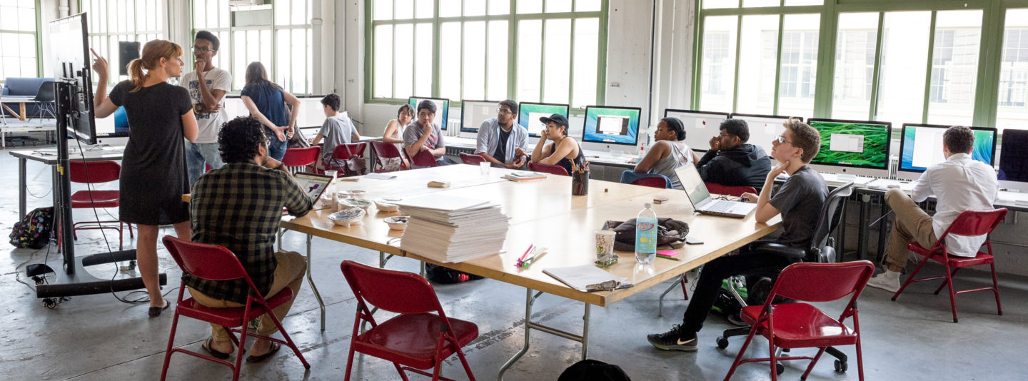 Students participating at Digital Day Camp (DDC), a multi-week arts and technology program, at Eyebeam in 2017.