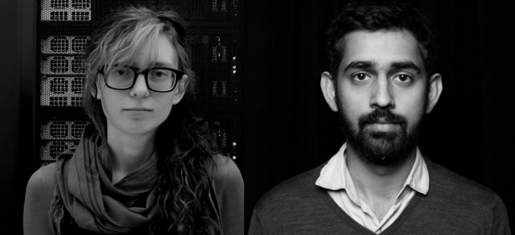 Ingrid Burrington (left) and Surya Mattu (right), residents for Eyebeam's R&D Program for the Future of Journalism, 2018.