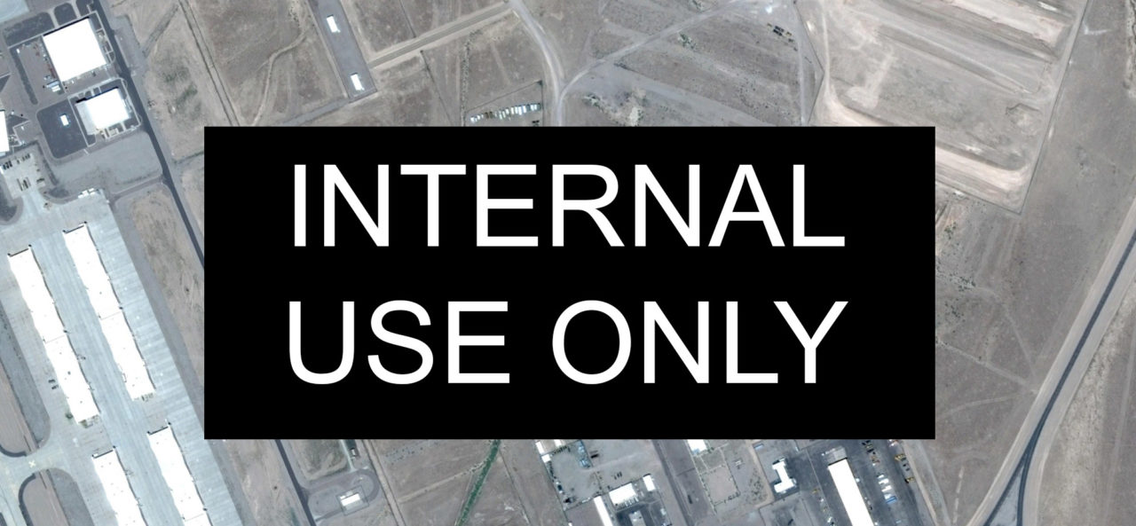 Internal Use Only typeface over a satellite image of South Western Nevada