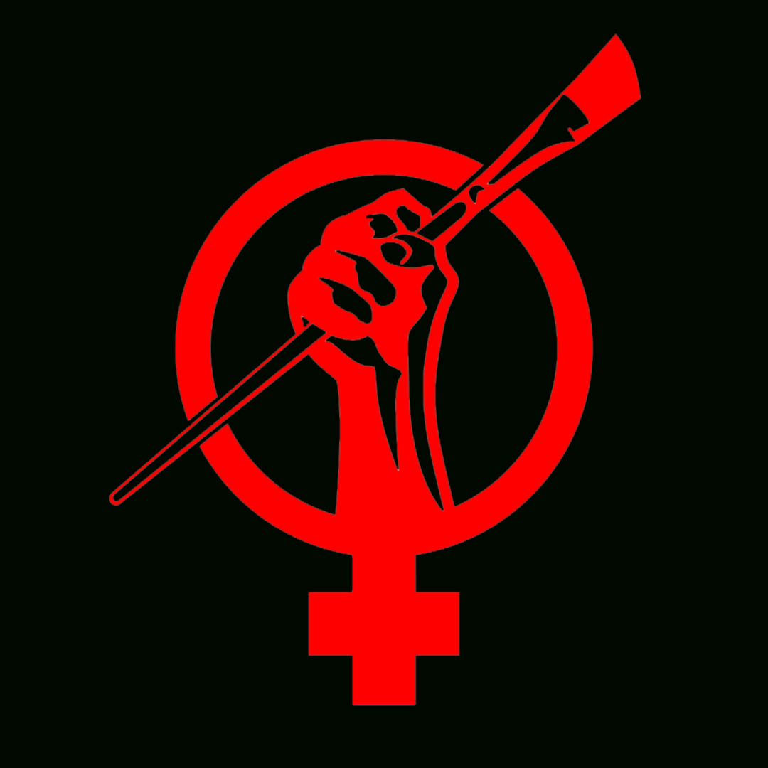 Art and Feminism Logo in red and black.
