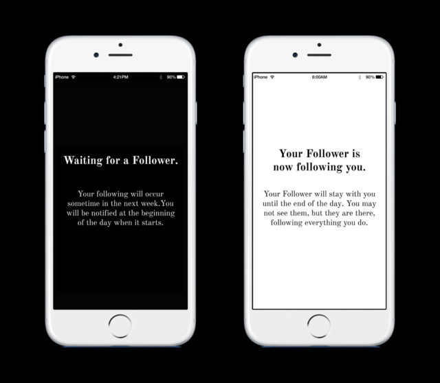 "Two phone screens that read ""Waiting for a Follower"" and ""Your Follower is following you"" illustrating the application involved with this piece of work."