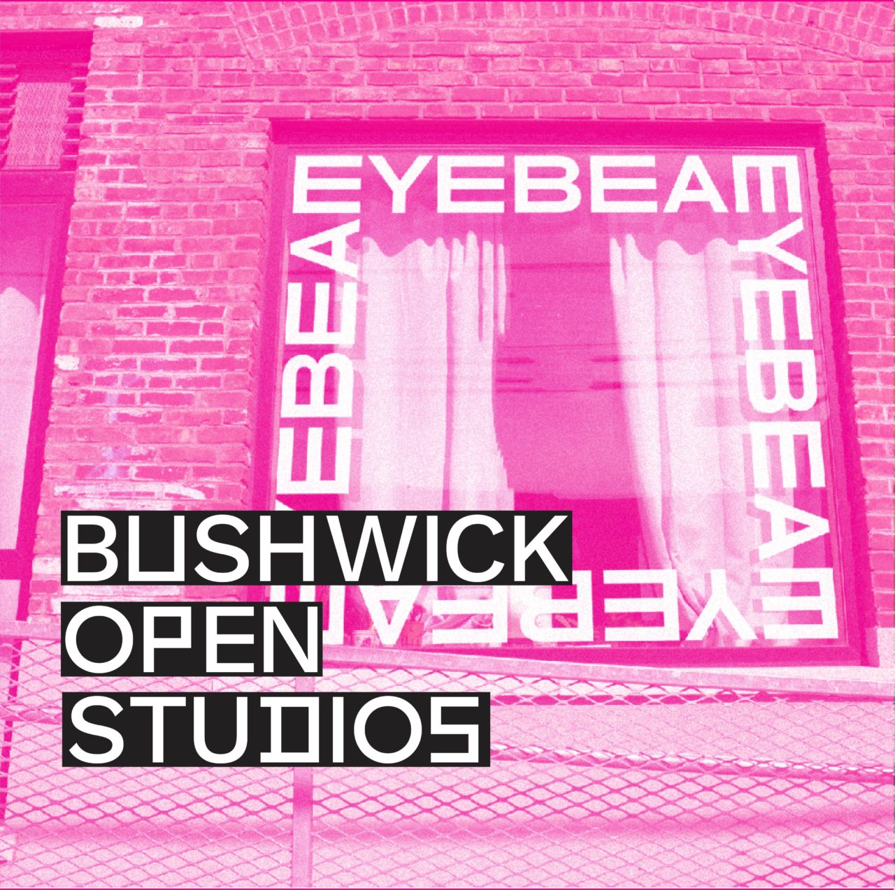 Photo of Eyebeam tinted in pink with text that reads,