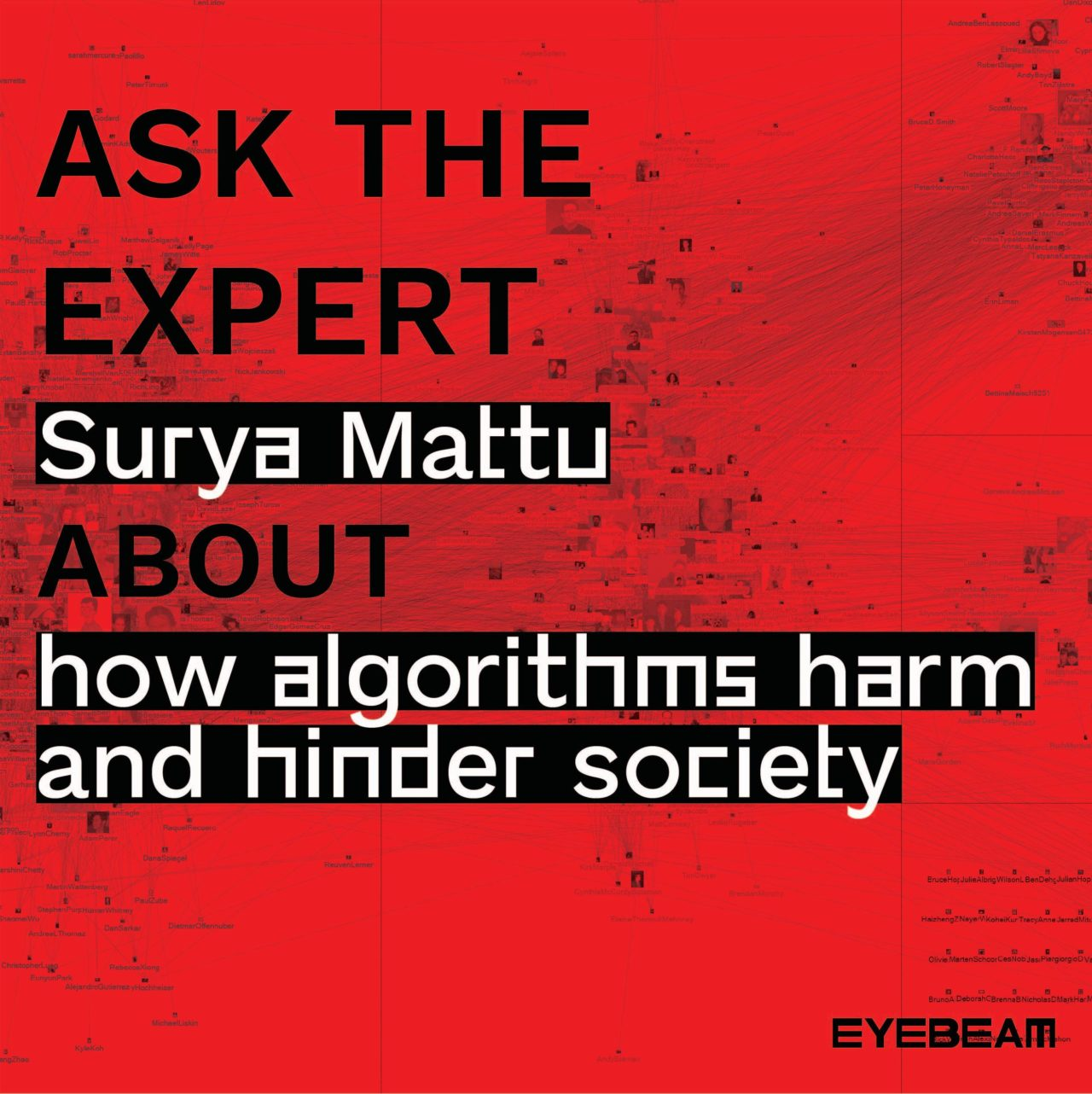 "Image Description: Connections among the Facebook users who friended Marc Smith when queried on July 18, 2011, scaled by betweenness centrality with a red overlay and text that reads, ""Ask The Expert Surya Mattu about how algorithms harm and hinder society"""