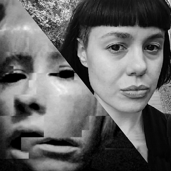 In this black and white image, Rosa Menkman is pictured on the left. Her image has visual glitches, she has white skin and white hair. Sarah Grant is pictured on the right. She has pronounced features, such as cheekbones and a short black fringe. Her skin is also white.