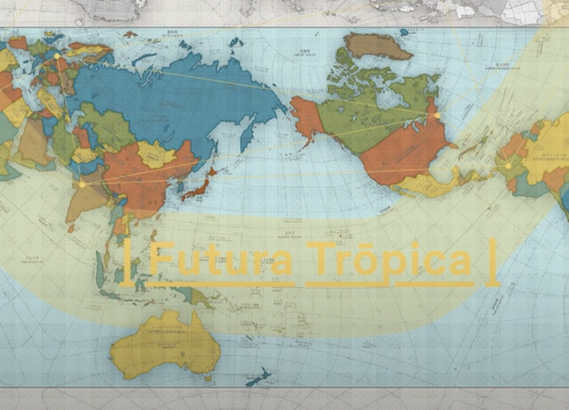 Map of the world with Futura Tropica in yellow overlaid.