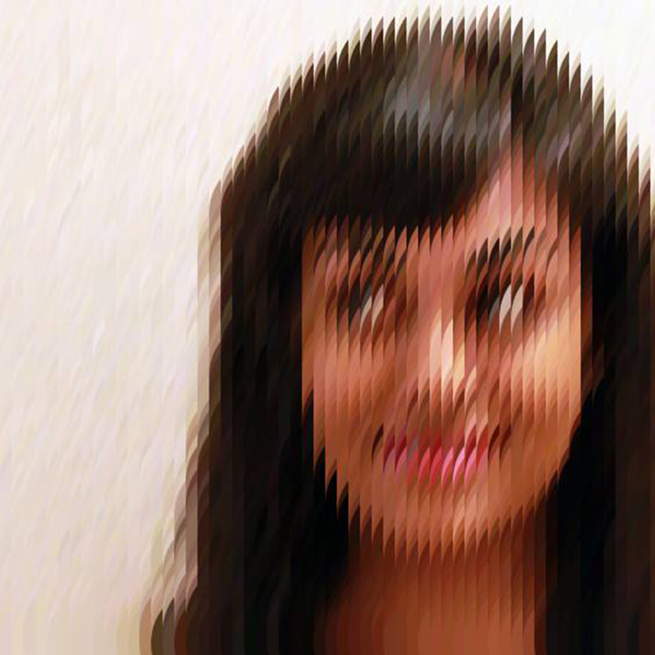 An image of a young woman from the shoulders up. She has brown skin and long black hair, and she's looking to the side and smiling slightly. There is a filter applied to the image that pixelates it and distorts it slightly; the image appears to be constructed of overlapping circles in the colors of the photo.