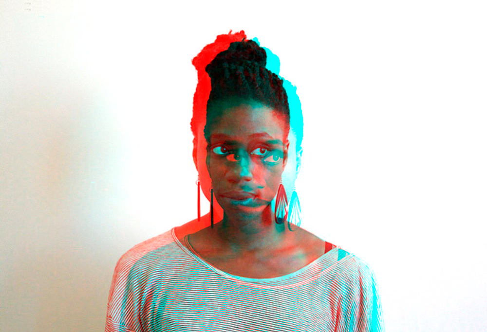 A glitchy photo of Mimi against a white background