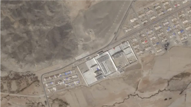 The camp at Shufu, in Xinjiang, seen by satellite on April 26, 2020