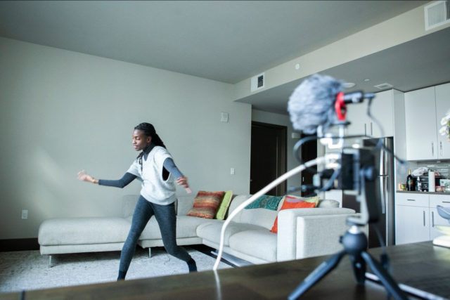 Valencia James, using her project Volumetric Performance Toolkit, to perform in 3D from her living room.