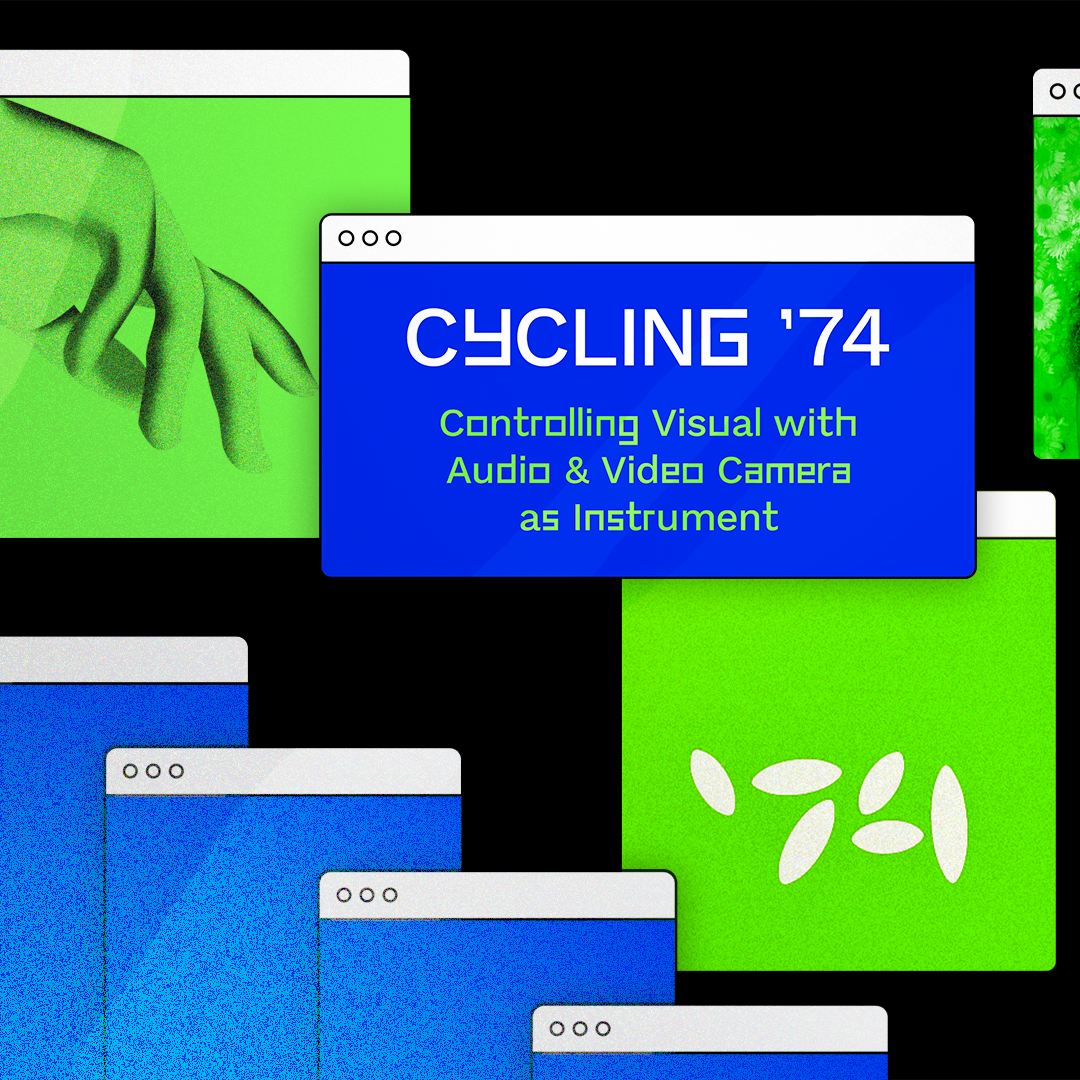 A computer graphic with Cycling '74 logo and their DDC course titled,