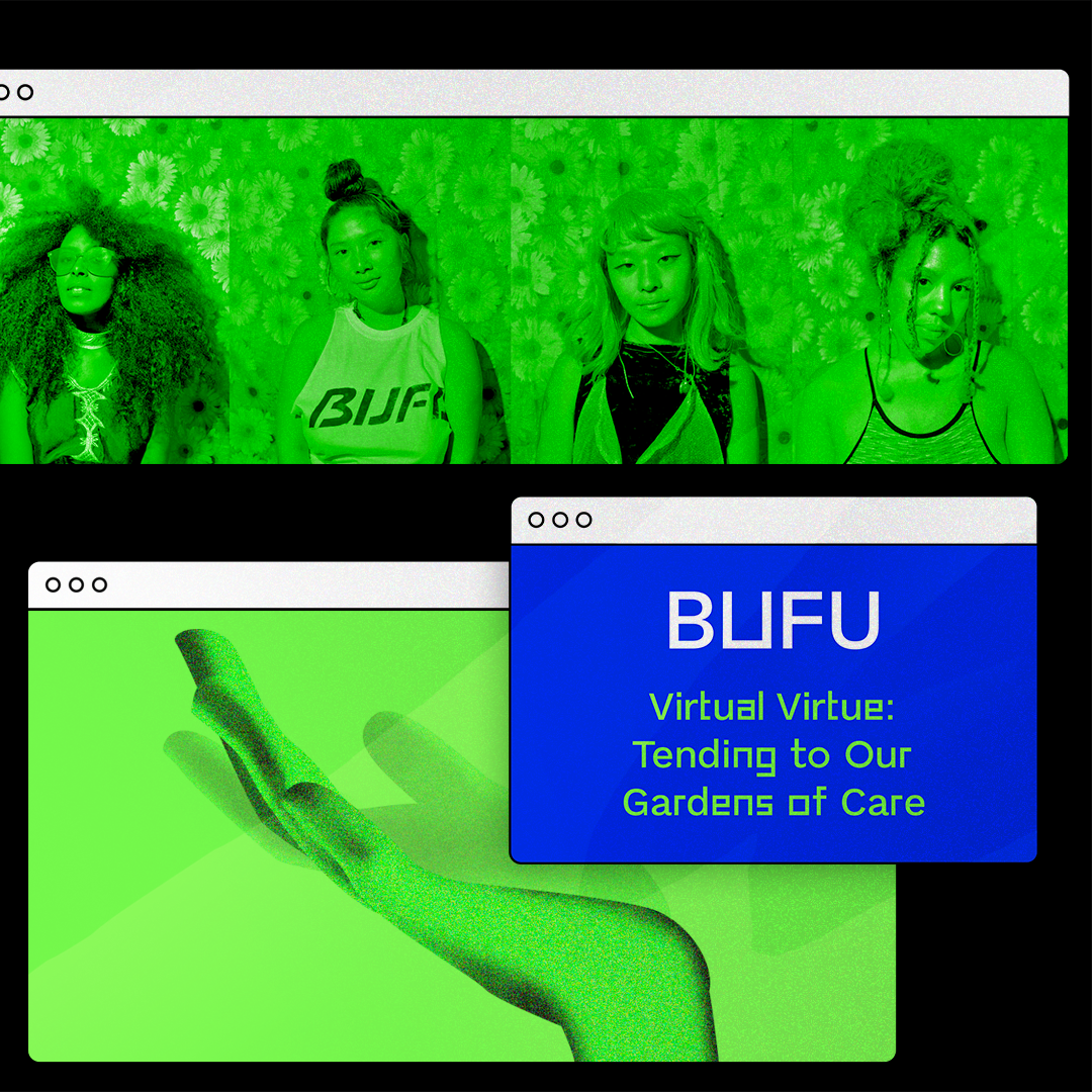 A computer graphic with BUFU, a Black & Asian collective, and the title of their DDC course