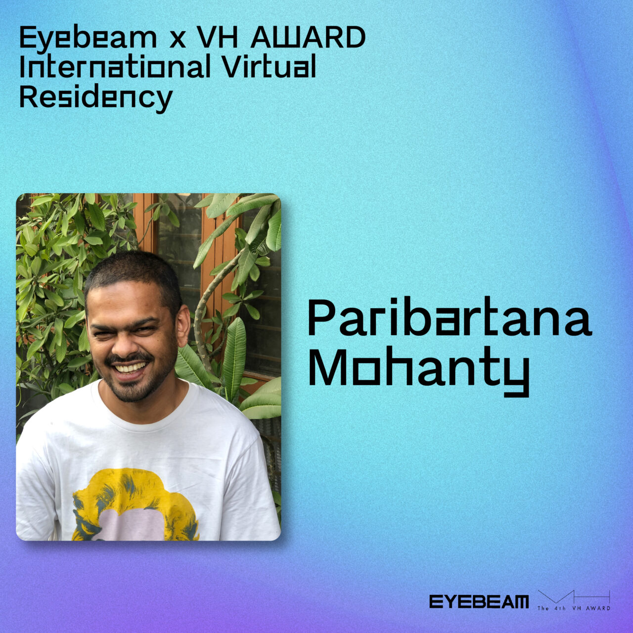 Gradient background with a photo of Paribartana Mohanty in the foreground.